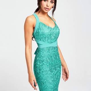 Zelené krajkové šaty s odhaleným chrbátom Paper Dolls