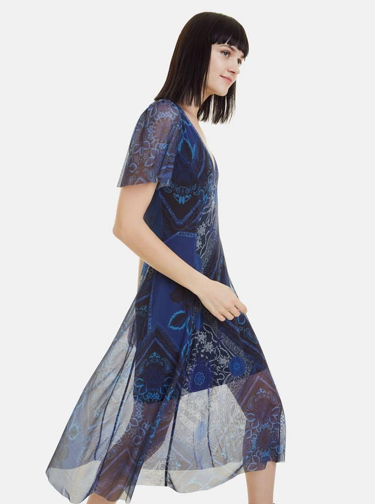 Desigual Modré vzorované šaty Desigual Terry