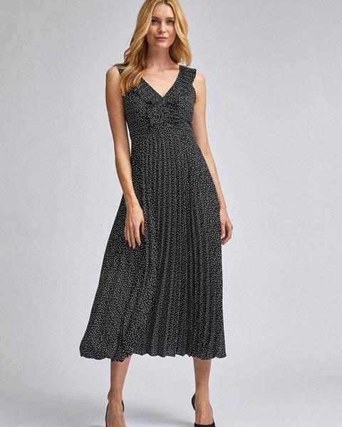 Dorothy Perkins Čierne bodkované maxišaty s plisovanou sukňou Dorothy Perkins