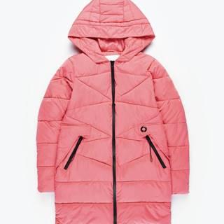 Dlhá prešívaná vatovaná bunda s kontrastnými zipsami