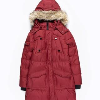 Dlhá vatovaná prešívaná bunda s kapucňou