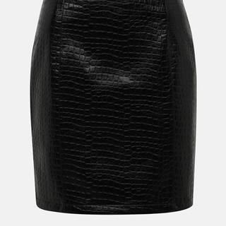 Čierna koženková minisukňa s krokodýlím vzorom VILA Crocodile