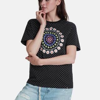 Čierne vzorované tričko Desigual Riga