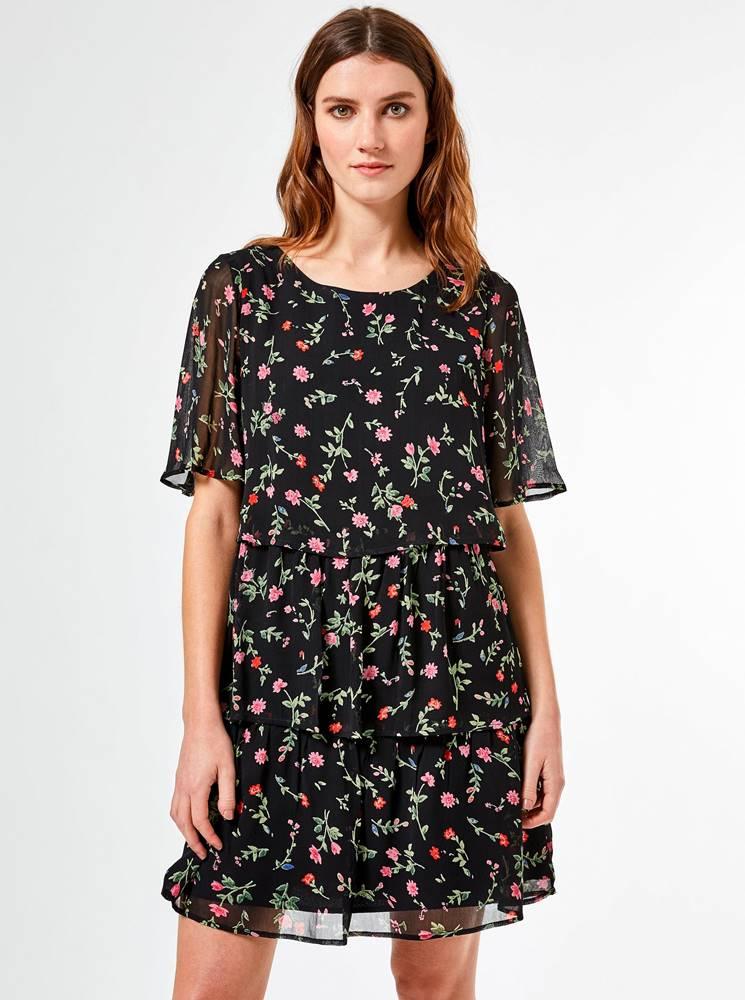 Dorothy Perkins Čierne kvetované šaty Dorothy Perkins